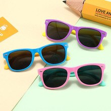 Silicone Flexible Safety Children's Sunglasses Fashion Boy and Girl Sun Visor Glasses Round Polarize