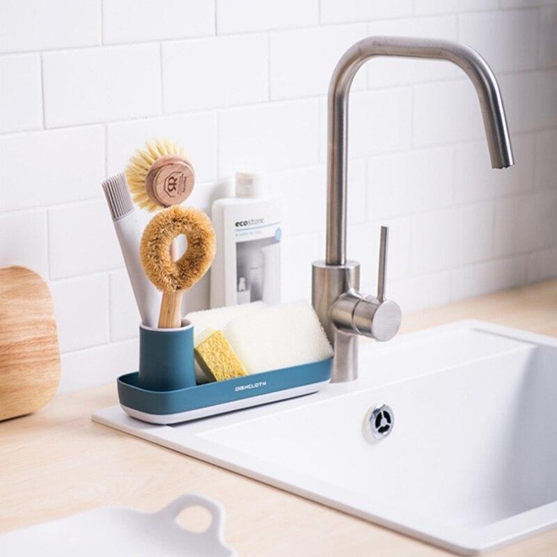Nórdicos capas jabón soporte de almacenamiento de cocina fregadero Rack esponja de almacenamiento, organizador de baño cepillo de dientes caja de almacenamiento de artículos de tocador bandeja