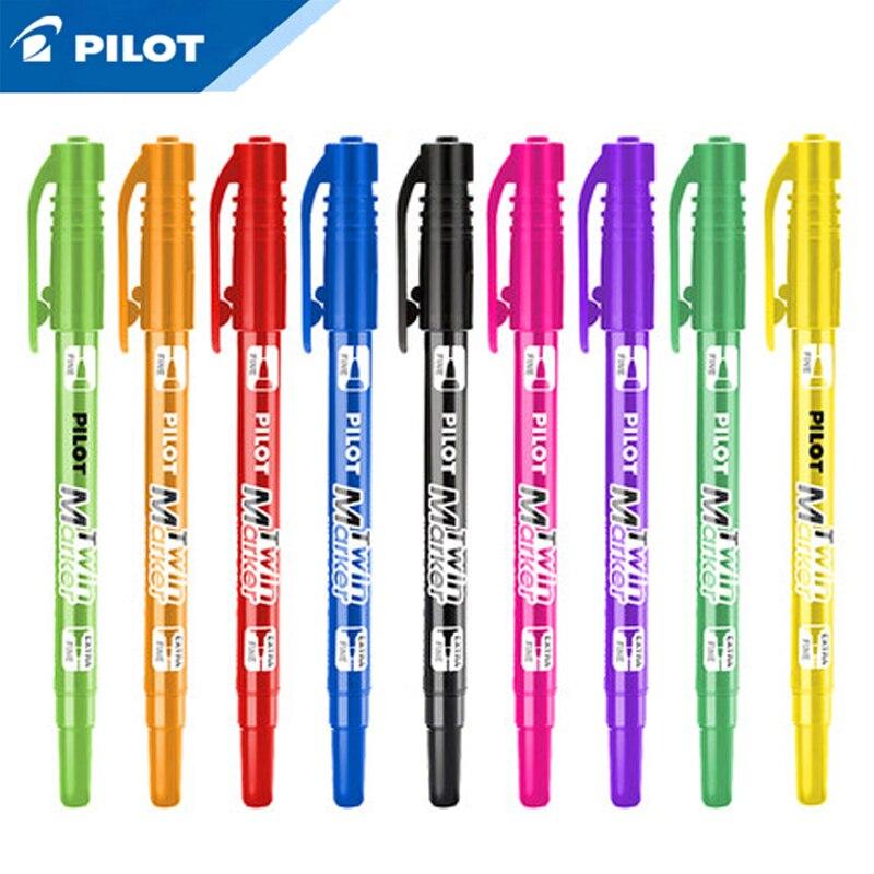 Piloto de Japón marcador de punto doble pluma plumas de marca 12 colores Set doble cabeza escritura dibujo pintura no xileno Oficina SCA-TM-S12