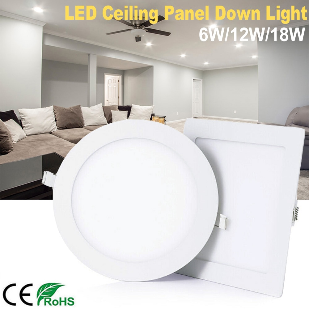 6W 12W 18W Ultra Slim LED Downlight Round Square Recessed Ceiling Lamp AC85-265V Indoor Lighting Spot Light D30