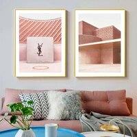 Peinture sur toile geometrique abstraite  affiche murale rose  Architecture de mode  Style maquillage  chambre de fille  image murale  decor de maison