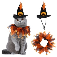 Pet Costumes Cat Cosplay Pumpkin Coller Hat Pet Costumes for Small Cats Funny Holiday Clothes Black