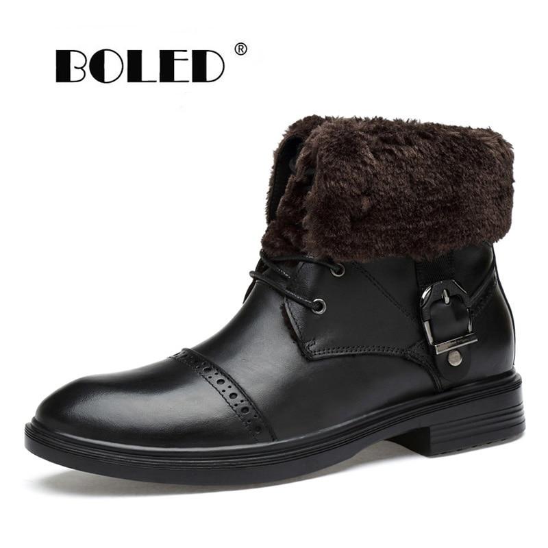 Plus Size Men Winter Boots Super Quality Genuine Leather Platform Ankle Waterproof Snow
