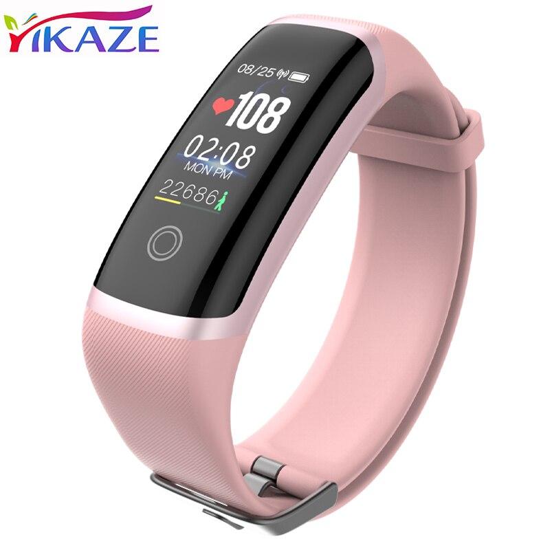 YIKAZE Deporte Fitness Tracker M4 Monitor de ritmo cardiaco inteligente pulsera calorías inteligente impermeable de la banda de reloj de moda para iOS Android