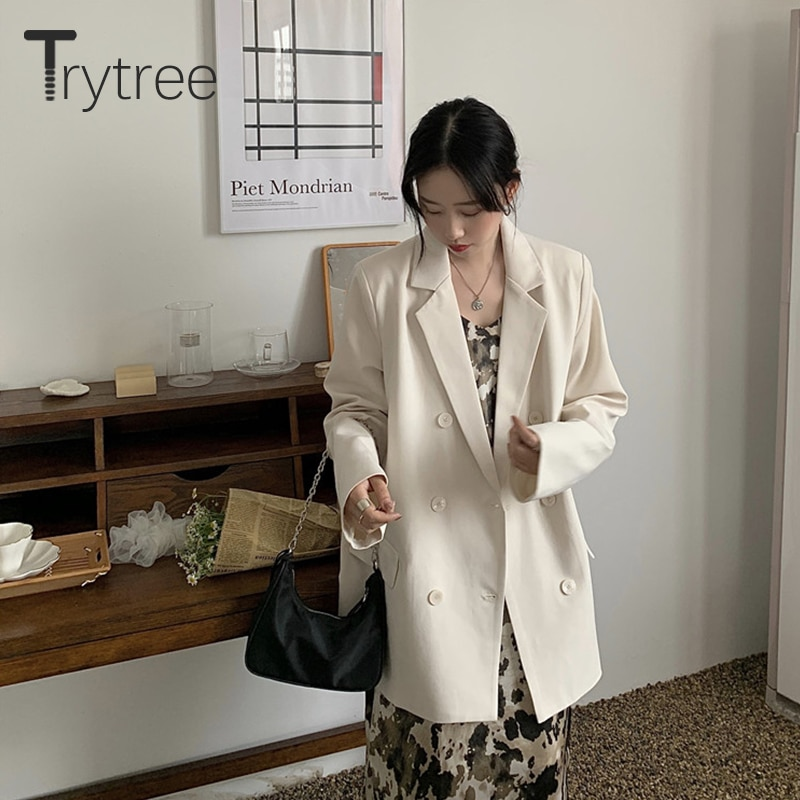 Trytree 2021 Autumn Casual Women's Jacket Notched Lapel Double Breasted Pockets Cardigan Solid Female Blazer in Strict Style