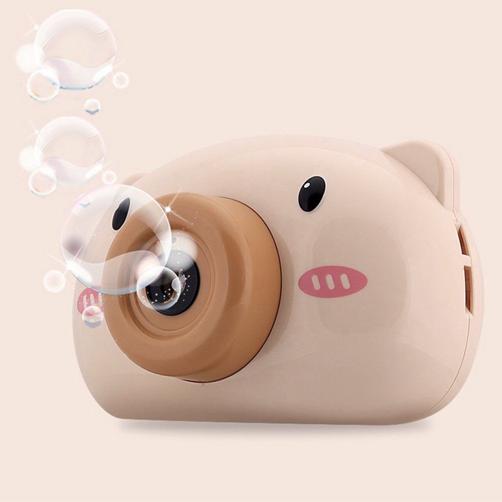 Bonita cámara de cerdo de dibujos animados, máquina de burbujas para niños, máquina de burbujas automática para exteriores, regalo para novia, juguete de baño para niños