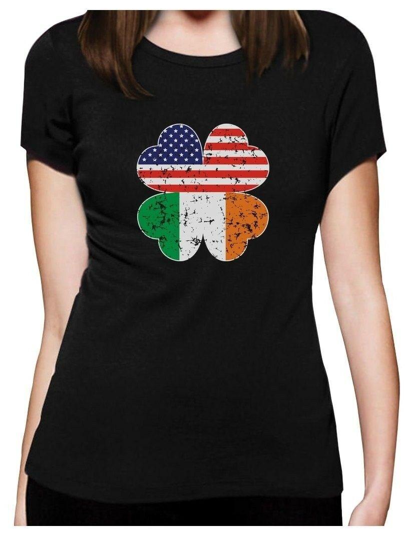 Trevo irlandês Americano Bandeira St Patricks T-Shirt Das Mulheres Dom Idéia