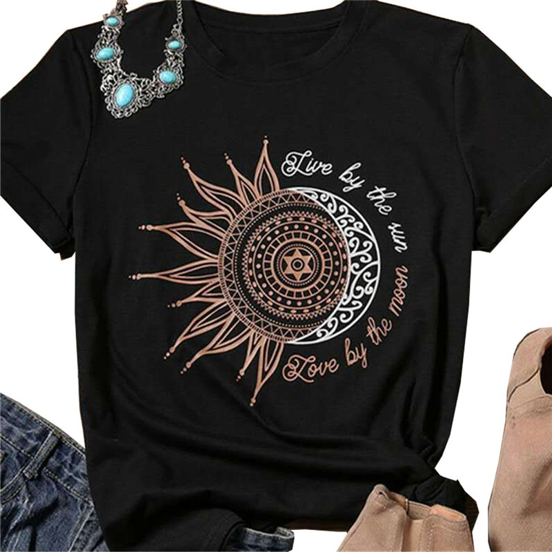 Женская футболка с коротким рукавом Live By The Sun Love By The Moon, Повседневная летняя футболка в стиле панк-рок