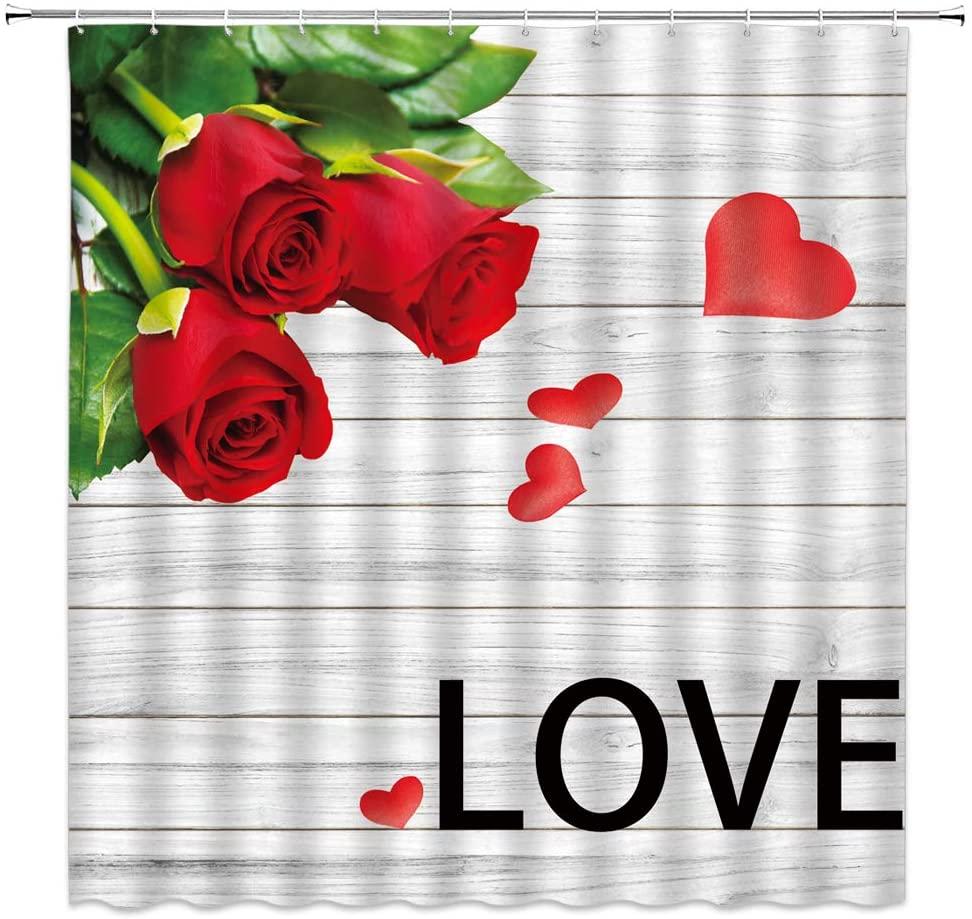 Cortina de rosa roja, pétalo de flor de Rosa con hojas verdes, textura de tablón de madera, cortina de ducha, Tela de decoración moderna, cortina de baño