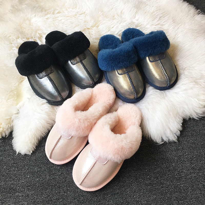 2021 Women Slipper Winter Snow Boots Non-slip Leather Real Wool Fur Warm Fashion Ladies Shoes Home enlarge