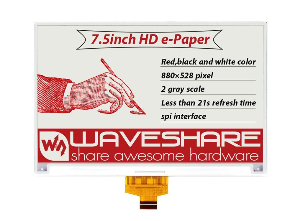 Pantalla en bruto Waveshare 880*528, e-ink 7,5 pulgadas, rojo/Negro/blanco, tres colores