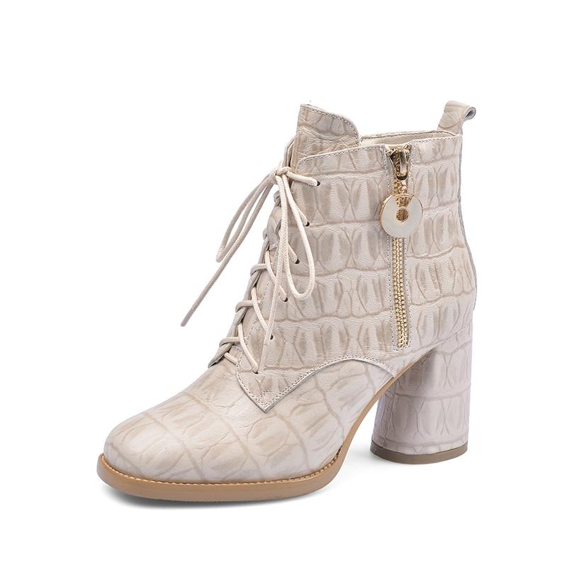 genuine leather high heels platform ankle boots women ladies dress party boots women winter warm lace up shoes woman black beige