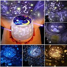Coloré ciel étoilé projecteur lune veilleuse à piles USB charge rotative veilleuse lampe de Projection enfants cadeau