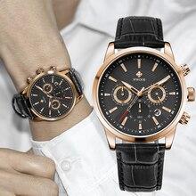 WWOOR Men Watchs 2021 Brand Luxury Black Leather Chronograph Sport Date Watch For Men Fashion Waterp