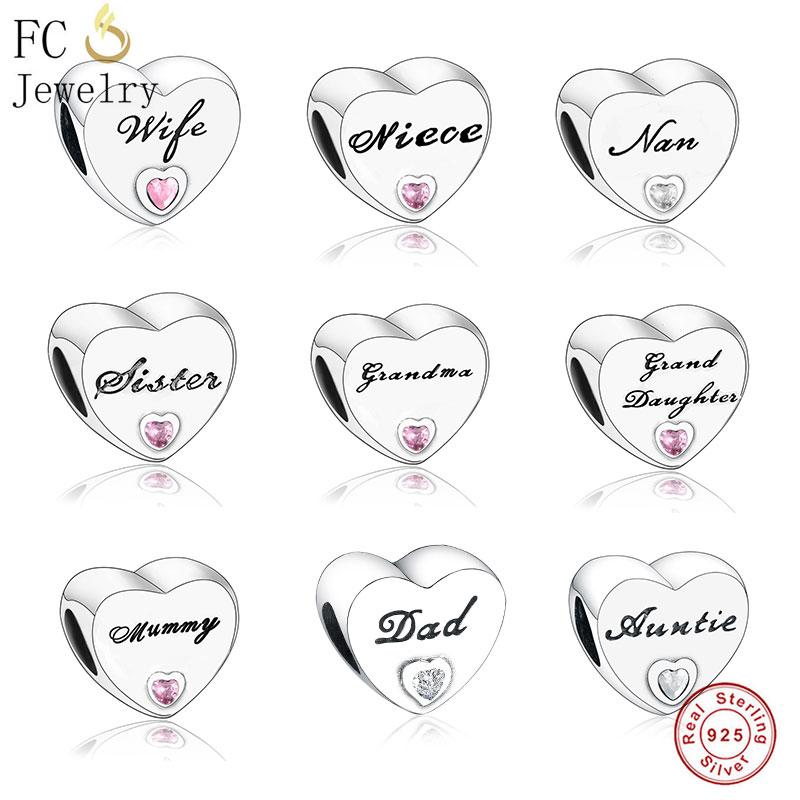 FC Jewelry Fit Original Pandora Charm Bracelet 925 Silver Grandma Wife Auntie Heart Pink Bead Making Letter Family Berloque 2019