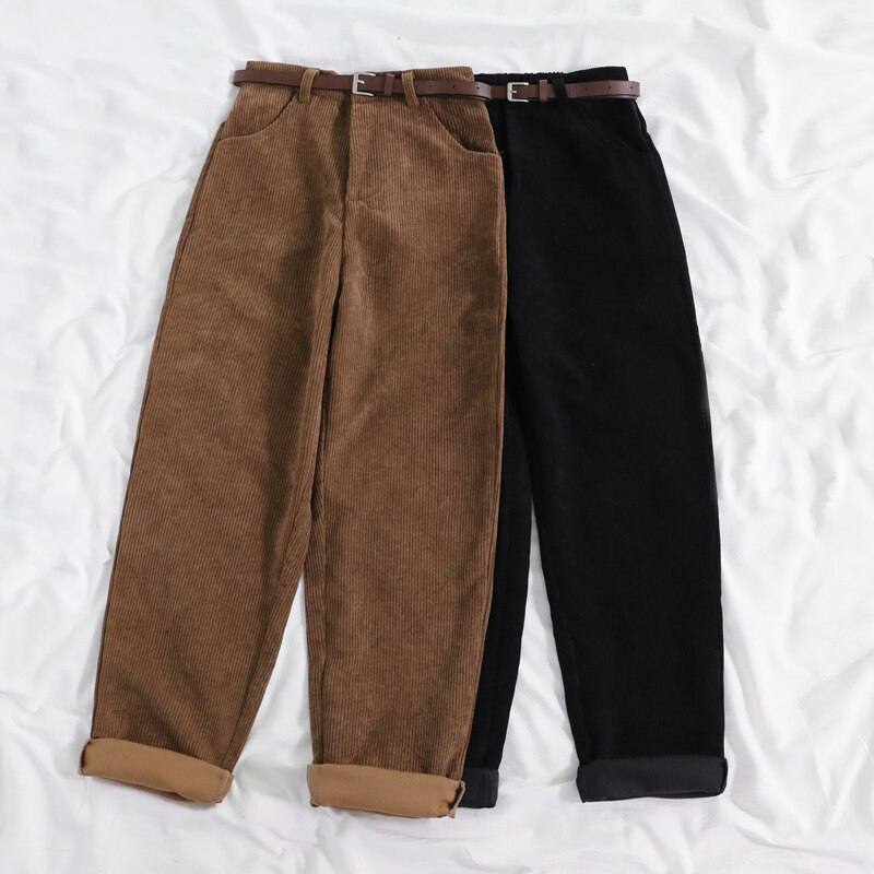 JMPRS New 2021 Women Spring Corduroy Pants High Waist Autumn Vintage Korean Wide Leg Pants Elegant Belt Loose Cotton Streetwear