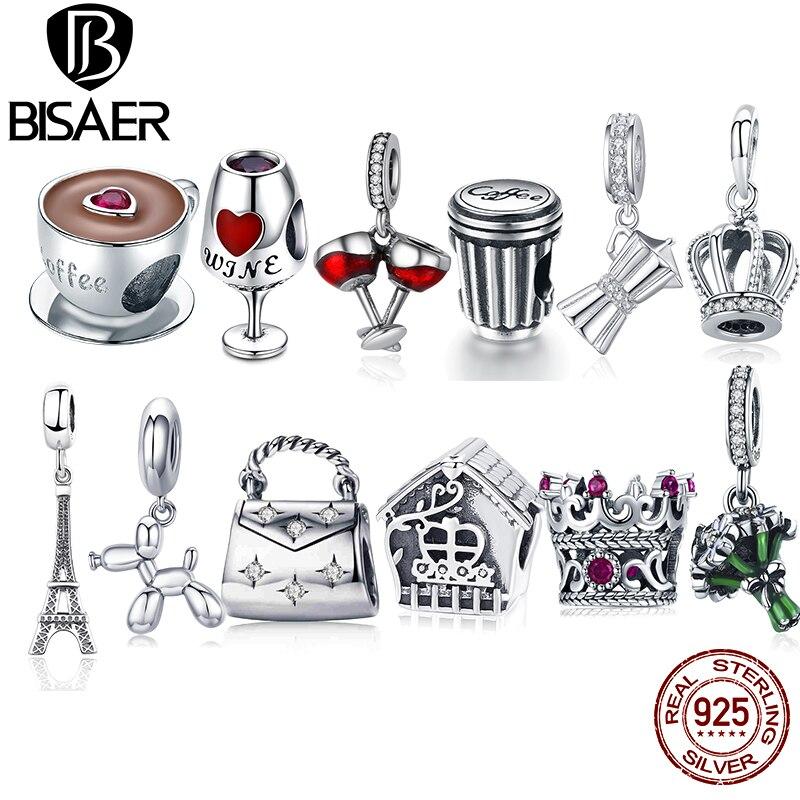 BISAER, 100% 925 пробы, Серебряная камера для путешествий, кофейная чашка, бусины в виде автомобилей, подходит для оригинального браслета, серебро 925, ювелирное изделие, подарок