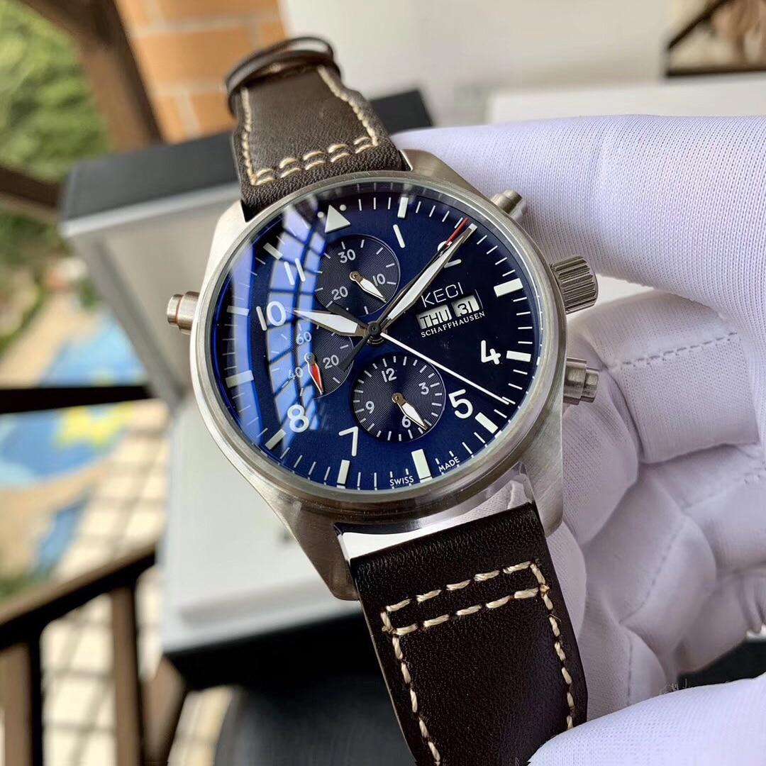 Men's Diameter 44mm Big Dial Pilot Watch Casual Fashion Automatic Mechanical Waterproof Wristwatch S