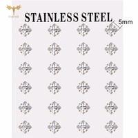 3 6mm square crystal earrings golden stainless steel jewelry earring simple womens accessories ear piercing stud earrings set