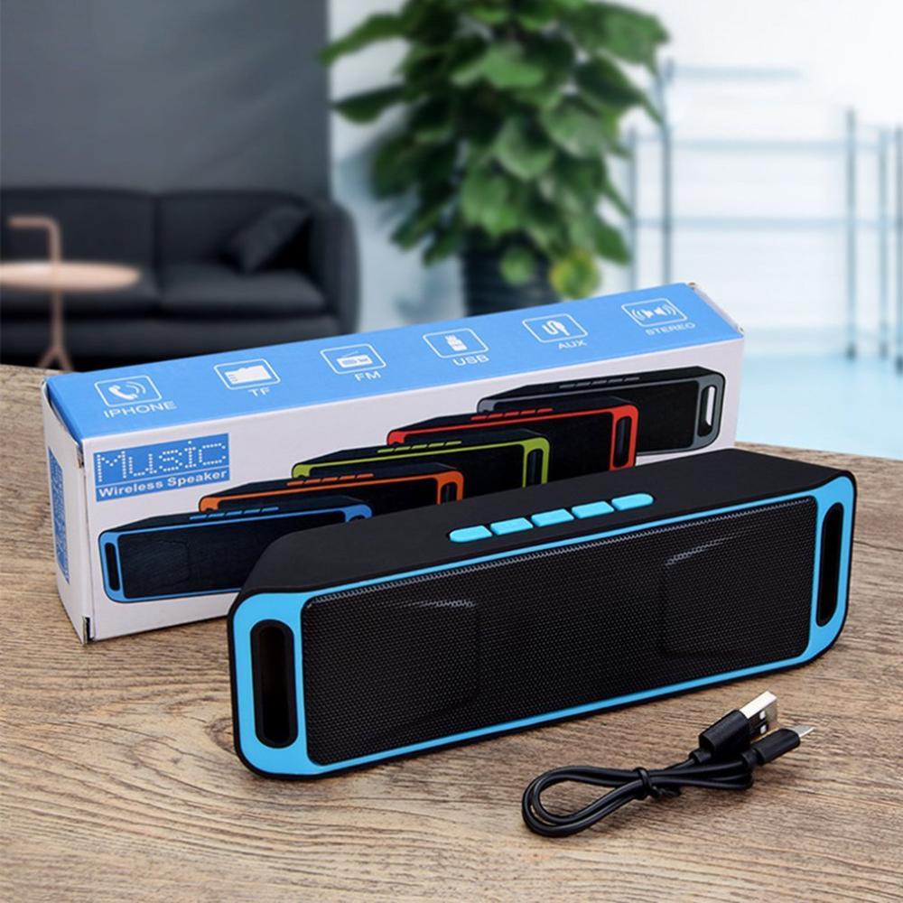 SC208 Bluetooth altavoz de Audio inalámbrico amplificador estéreo Subwoofer altavoz portátil TF USB FM Radio micrófono incorporado bajo Dual