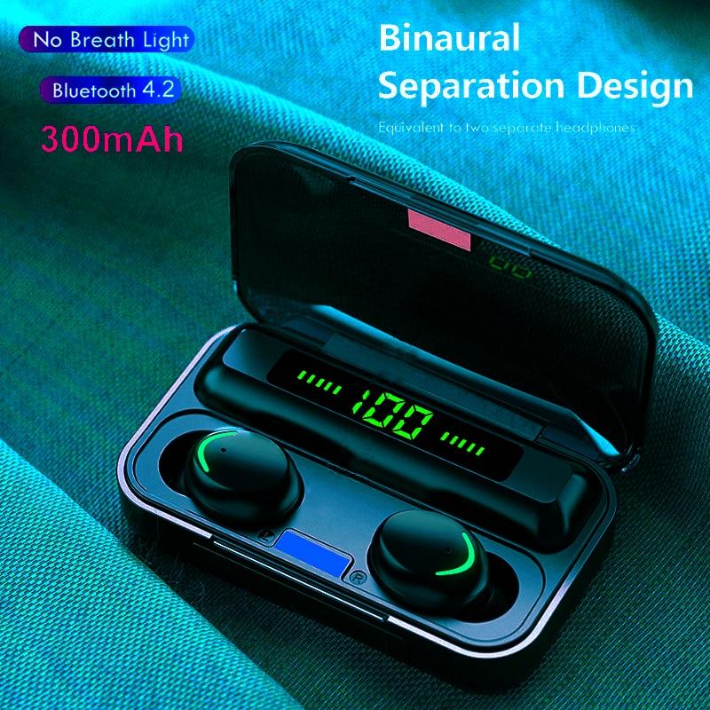Earphones F9 Bluetooth 5.0 TWS Fingerprint Touch Headset HiFI 9D Stereo In-ear Earbuds Wireless Head