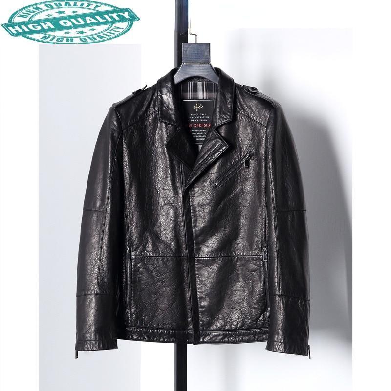 100% الخريف سترة حقيقية موضة جلد البقر معطف أسود دراجة نارية سترات من الجلد فيست أوم Gmm370