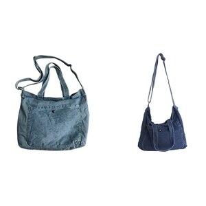 2X Washed Denim Messenger Bag Female Student Shoulder Bag Hand Sail Bag Light Blue & Dark Blue