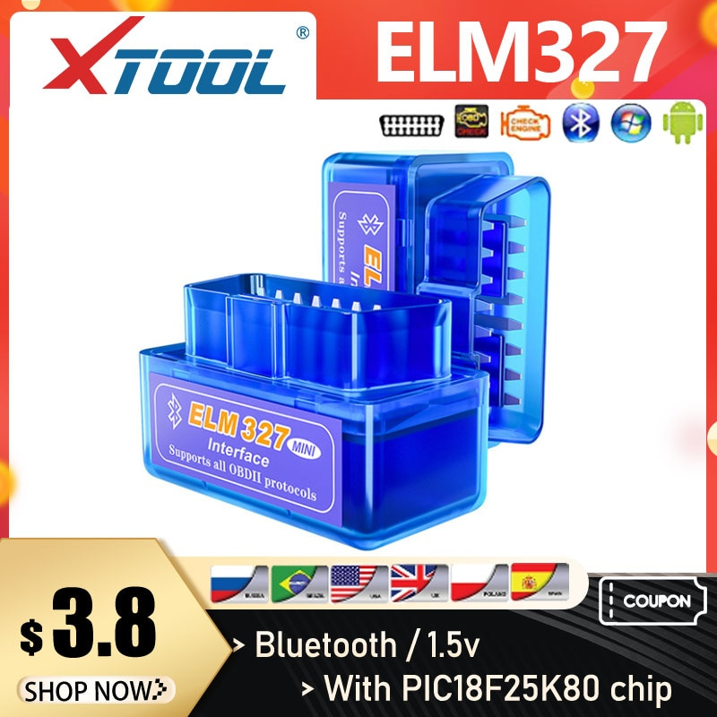 XTOOL 2019 Mini Elm327 Bluetooth V1.5/V2.1 PIC18F25K80 327 OBD2 Scanner OBD Car Diagnostic Tool Code Reader For Android Windows