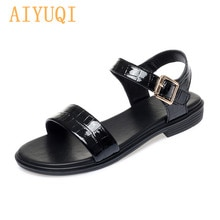 AIYUQI Women Sandals Rome 2021 Summer New Genuine Leather Open Toe Girl Sandals Large Size 41 42 43