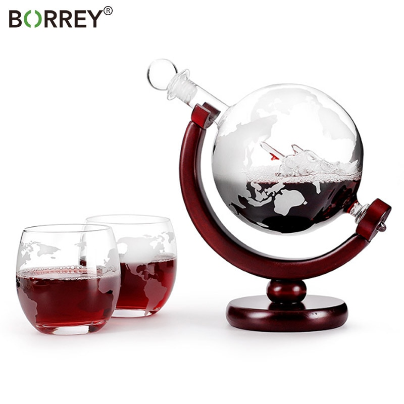 BORREY-مجموعة زجاجات نبيذ على شكل كرة أرضية ، دورق نبيذ أحمر ، فودكا ويسكي ، موزع بيرة زجاجي ، حامل زجاجة