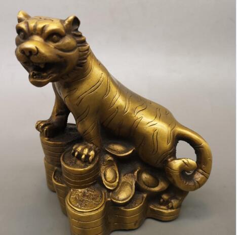 Antiguo chino antiguo Qianlong latón doce el zodiaco chino Tigre tallado imagen