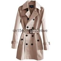 classic double breasted windbreaker mens 2020 spring and autumn new fashion medium length coat large size 9161