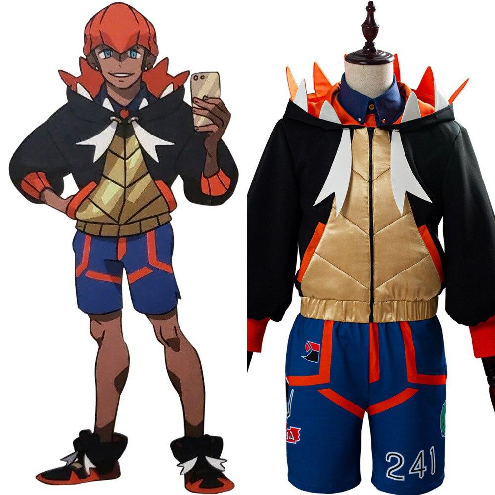 Disfraz de Cosplay de Pokémon Sword/Shield Raihan, disfraz de Halloween para hombre y mujer, chaqueta personalizada, pantalones, traje completo