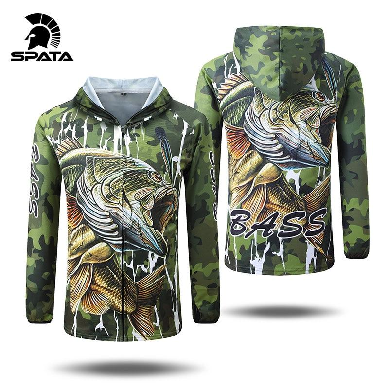 SPATA جديد باس الصيد تي شيرت مكافحة الأشعة فوق البنفسجية الشمس حماية طويلة الأكمام الرجال تنفس التمويه الصيد مجموعات قميص الملابس الملابس