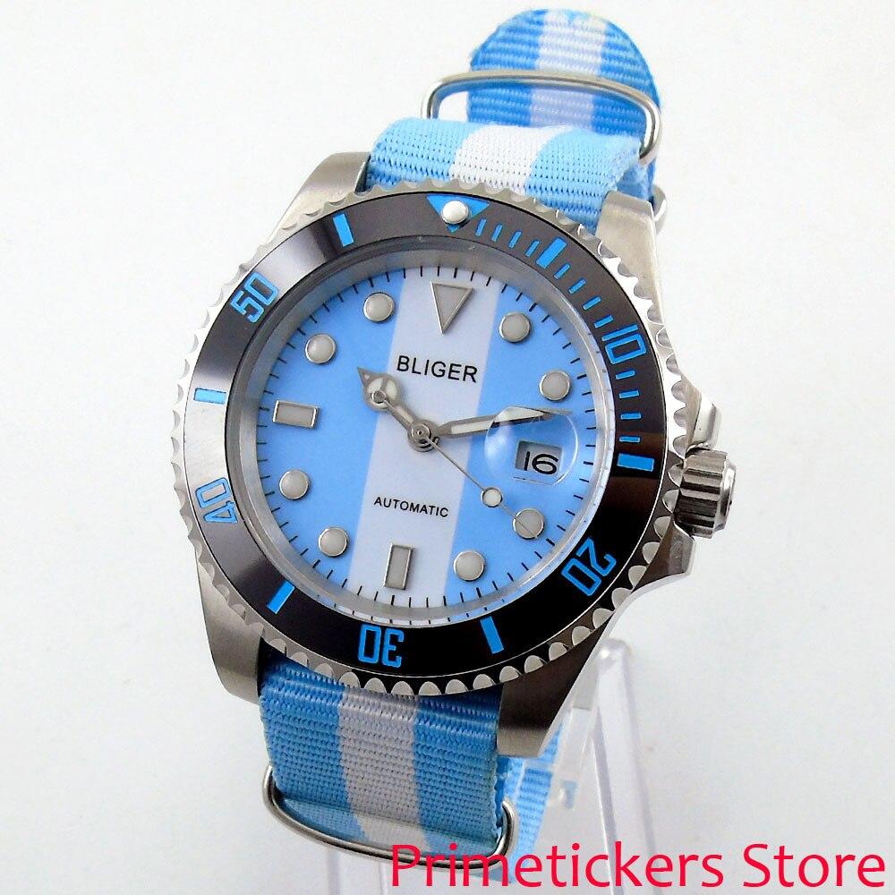 BLIGER 40 مللي متر الأزرق الأبيض الهاتفي الياقوت الكريستال الأسود السيراميك الحافة التلقائي حركة ساعة رجالي حزام نايلون