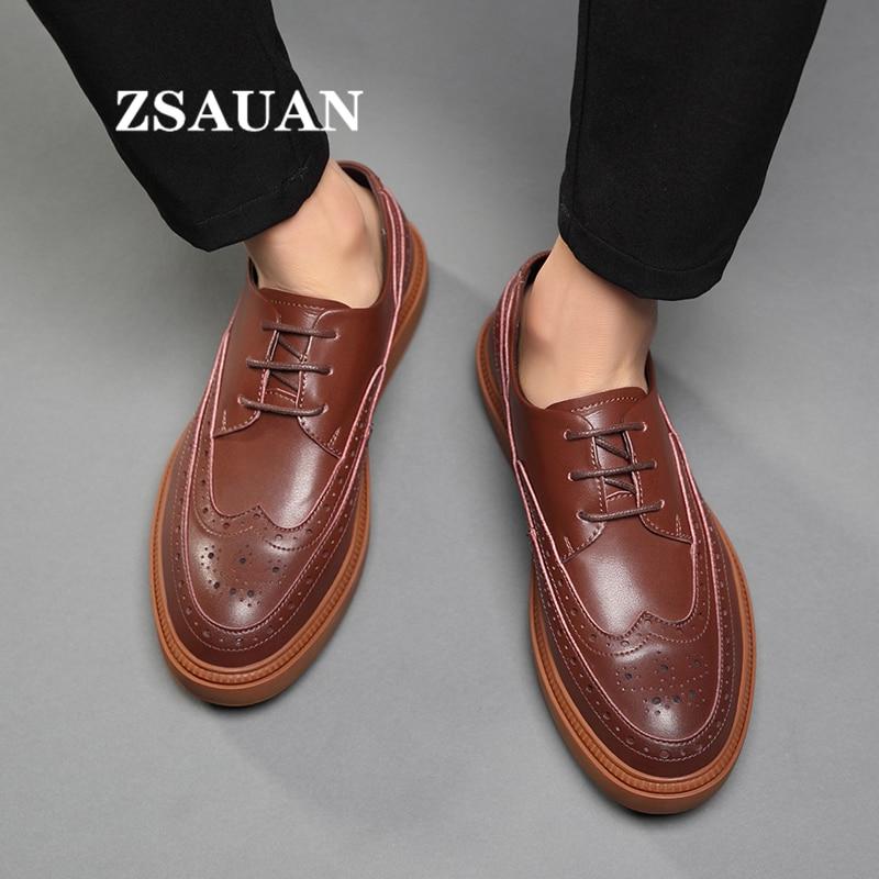 ZSAUAN zapatos de cuero Oxford de Moda de Primavera para hombres, suela gruesa de moda versátil, punta redonda, Brogue, zapatos diarios para hombres, rendimiento en grupo