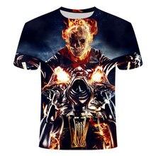 2019 nouveau T-shirt 3D, hommes T-Shirt Ghost Rider T-shirt à manches courtes 3D crâne imprimé hommes femmes t-shirt décontracté haut été. S-taille 6 xl