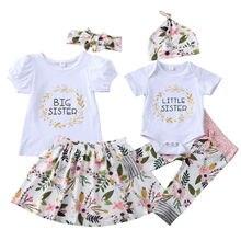 Kwiat noworodka maluch dziewczynka jednakowe stroje rodzinne mała siostra Romper spodnie duża siostra T shirt spódnice stroje