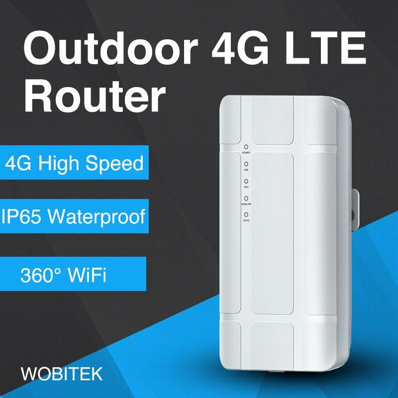 WOBITEK 4G LTE Outdoor WiFi Router Unlocked CPE Wireless 300Mbps Modem With Sim Card Slot LAN Port Hotspot Waterproof Ethernet