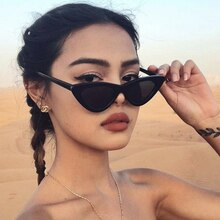 LONSY Fashion Cute Sexy Ladies Cat Eye Sunglasses Women Vintage Retro Small Triangular Cateye Glasse