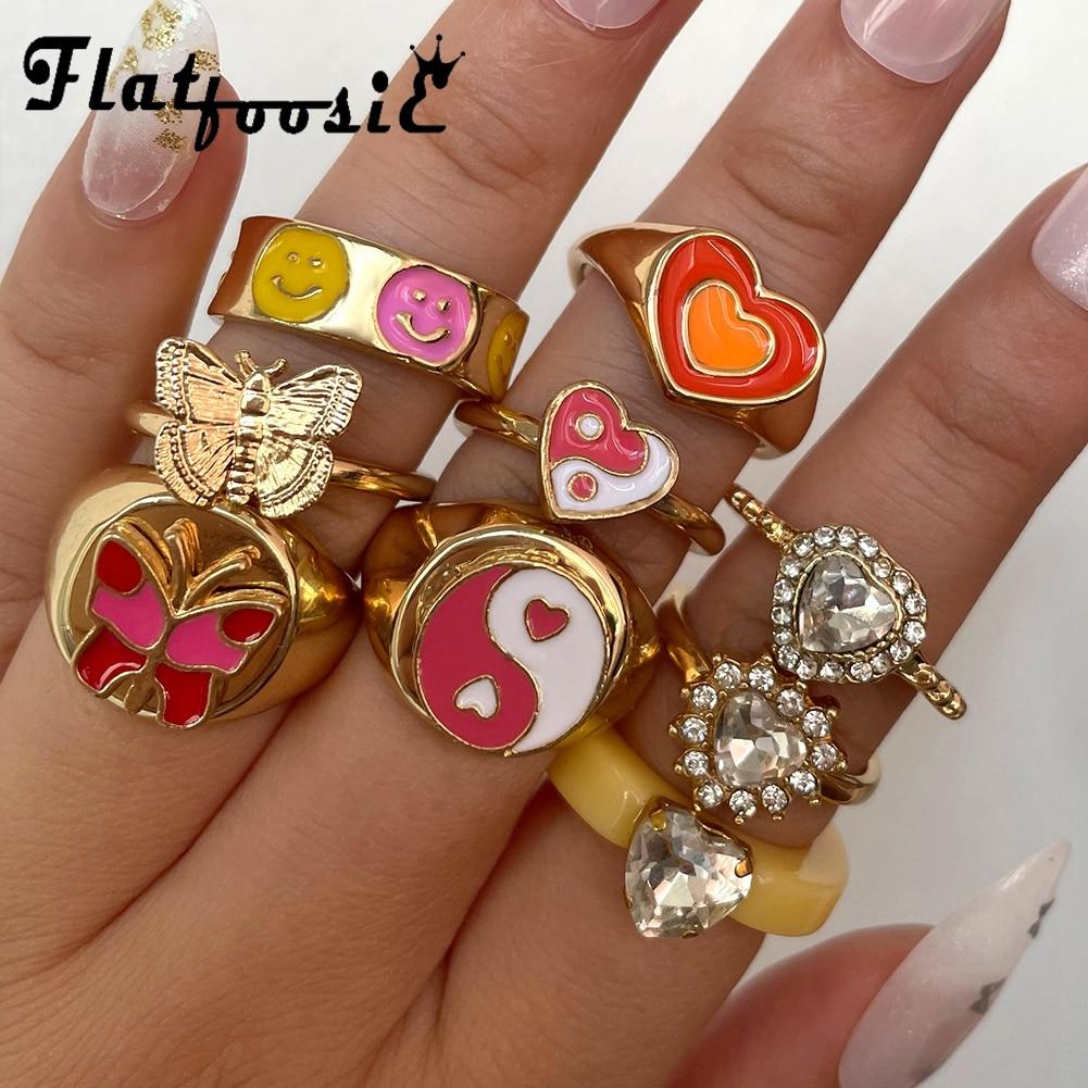 Flatfoosie New Creative Simple Love Heart Rings Set for Women Gold Enamel Butterfly Heart Yin Yang Couple Rings Trendy Jewelry