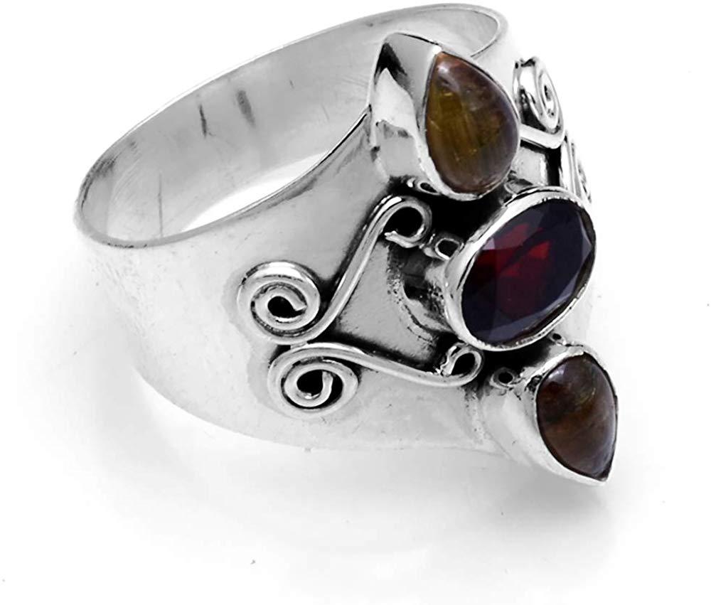 Granada genuína + tiger eye ring 925 prata esterlina, eua tamanho 8.25, 2sr616