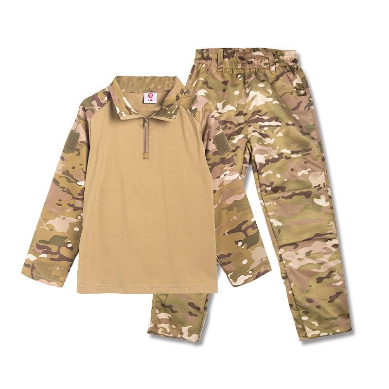 2021 Детские армейские тактические военные камуфляжные рубашки для мальчиков, штаны, быстрое Штурмовое сражение с длинным рукавом