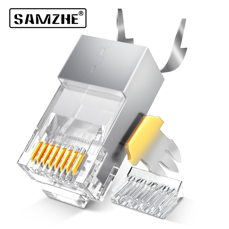 SAMZHE Cat6 RJ45 conector 8P8C Cable Lan Modular enchufe de cabeza 50 uds/30 uds/100Psc Cat 6 Crimp red RJ 45 conector para Ethernet