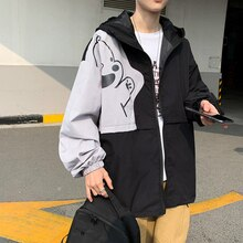 Spring Hong Kong Style Stitching Contrast Color Men and Women Couple Korean Loose Shell Jacket Fashi