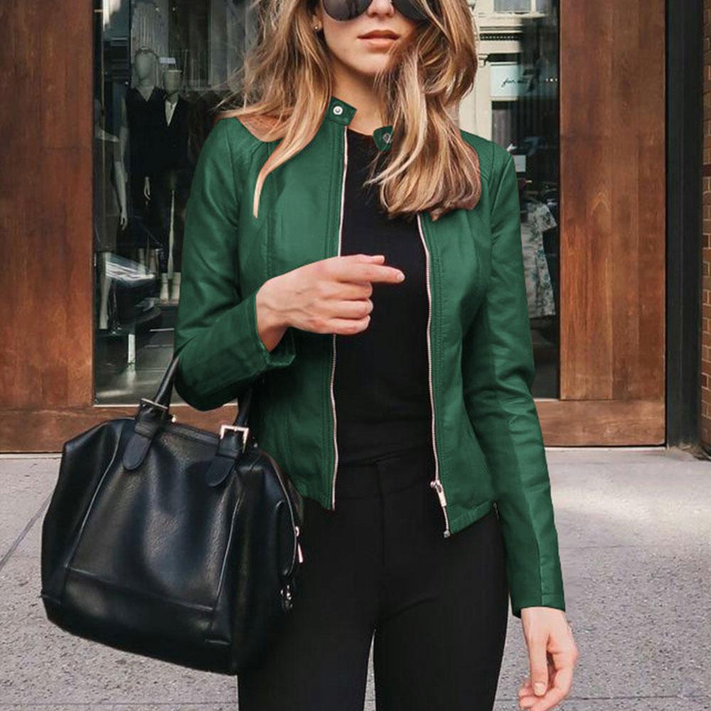Модные Куртки из искусственной мягкой кожи, короткое пальто, мотоциклетные кожаные куртки, Женская облегающая куртка из искусственной кожи...