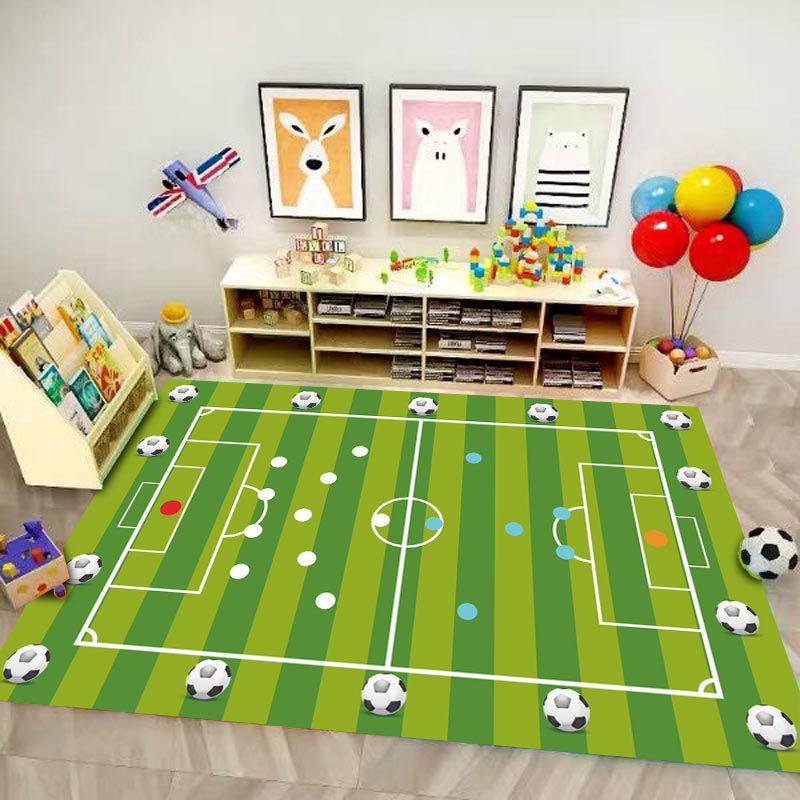 Alfombra para el hogar para niños, manta de dibujos animados, pelotas de fútbol en 3D, alfombra para gatear para niños, mapa de baloncesto, juego de baloncesto, decoración de habitación de Manga del cielo