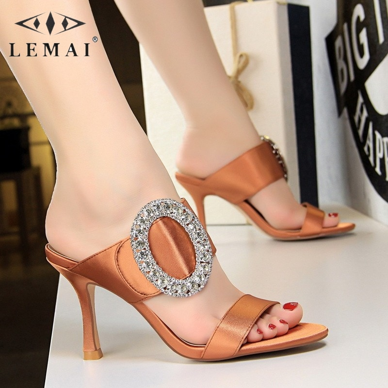 Pointed Toe Women Slippers Summer Fashion Sexy Banquet High-heeled Shoes Rhinestone Elegant Solid Color Bling Stiletto