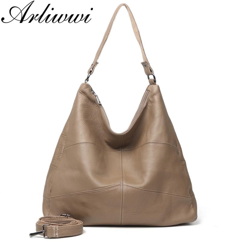 Arliwwi-حقائب يد نسائية من الجلد الطبيعي ، سعة كبيرة ، حقيبة كتف مرقعة من جلد البقر الناعم ، G16