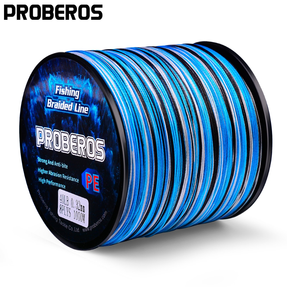 PROBERO 4&8 Braids Fishing Line 300-500-1000M Multifilament Weaves Line 10LB-100LB Smooth Wired PE Line for Bass Pike Fishing